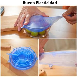 Newdora Tapas de Silicona Elásticas, 12 Tapas Silicona Ajustables ...