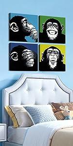 Abstract Monkey Canvas Art