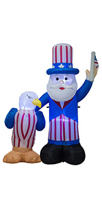 AJY 6 FT Independence Day Inflatable Uncle Sam with Eagle amp; American Flag