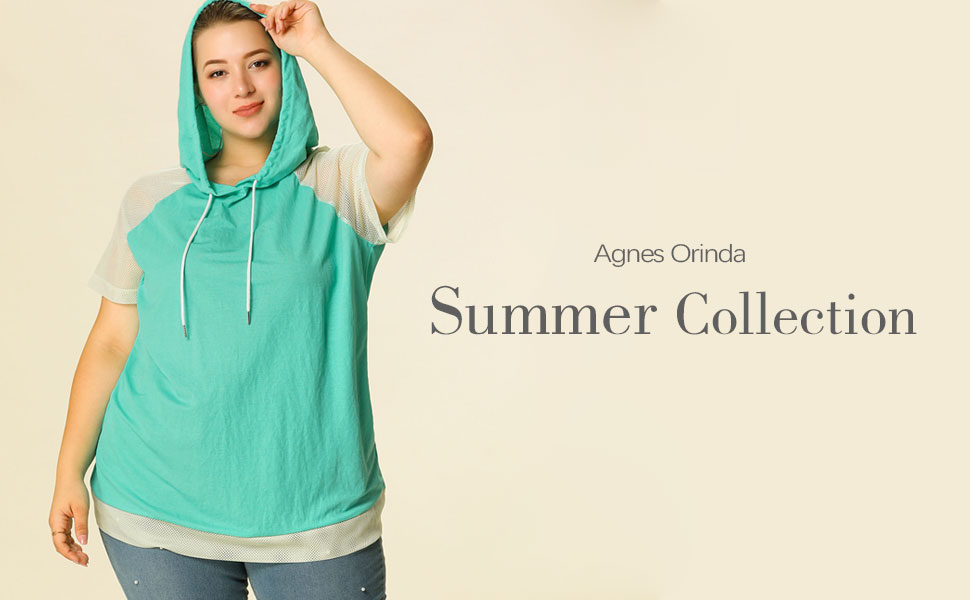 Agnes Orinda Womens Plus Size Hoodie Zip Front Casual Hoodies with Pockets