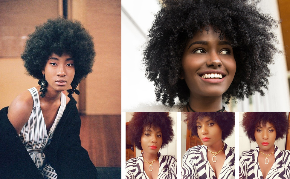 queentas afro wig human hair small curl black women