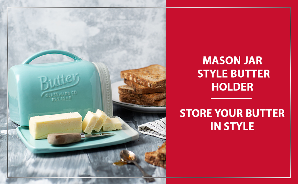 Mason Jar Ceramic Butter Dish With Lid And Handle Vintage Ceramic Butter Holder Decorative Butter Keeper With Rustic Farmhouse Design Convenient Butter Crock In Aqua Blue Color Amazon Ca Home