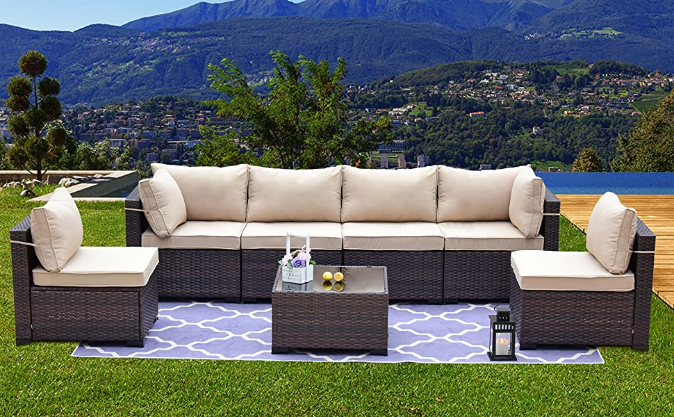 Outdoor Patio Sectional Rattan Sofa Set