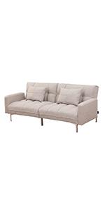 Schlafsofa 3 Sitzer Polstersofa Couch mit Dicker Polsterung Schlaffunktion Armlehne Holz Flanell