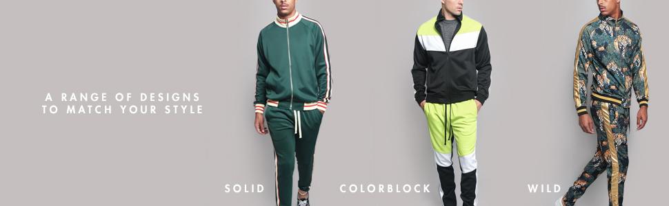 Solid plain basic color colorblock wild tiger track suit