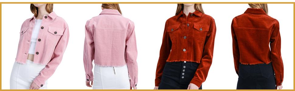 Women's Classic Corduroy Jacket - Long Sleeve Cropped Trucker Coat - Button Down Outwear