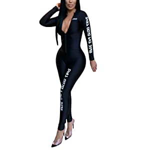 Plus Size Women V-Neck Long Sleeve Jumpsuit Clubwear Playsuit Party Long Trouser