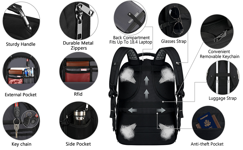 With built-in USB PORT outside, this laptop backpack is convenient to charge your cell phone