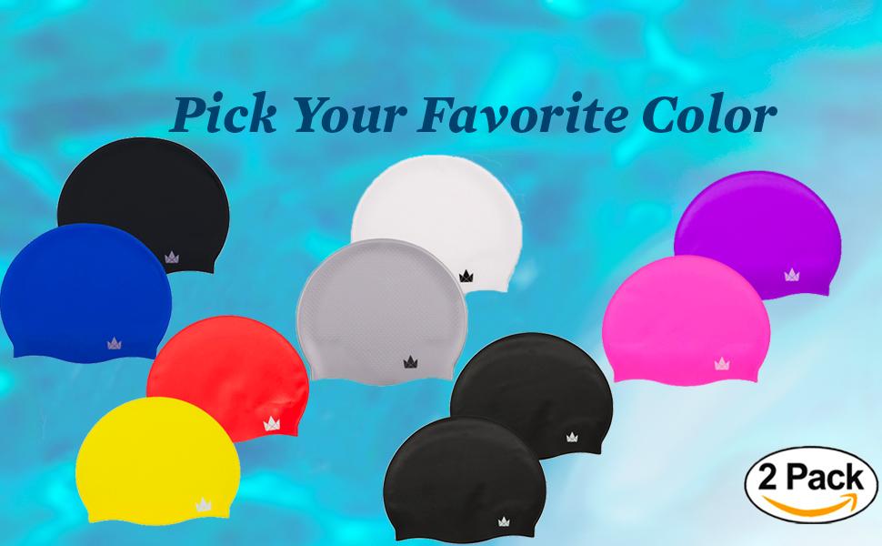 different colors swim caps short hair