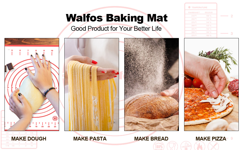 Great for Dough Walfos Baking Mat Making Cookies 16.5 x12 Non-stick Silicone Pastry Mat with Measurement Counter BPA Free and Dishwasher Safe Pizza Heat Resistant Bread Pie Reusable Oven Liner