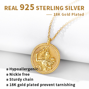 18k gold plated round pendant