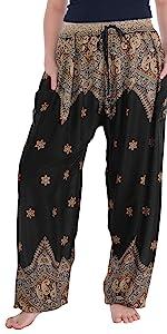 black peacock drawstring harem boho pants