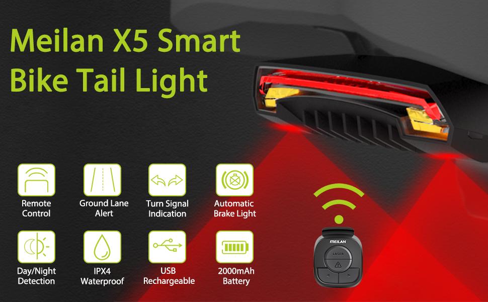 Meilan X5 Fahrrad Rücklicht Bike Remote Wireless Licht Turn Signal LED A7V3