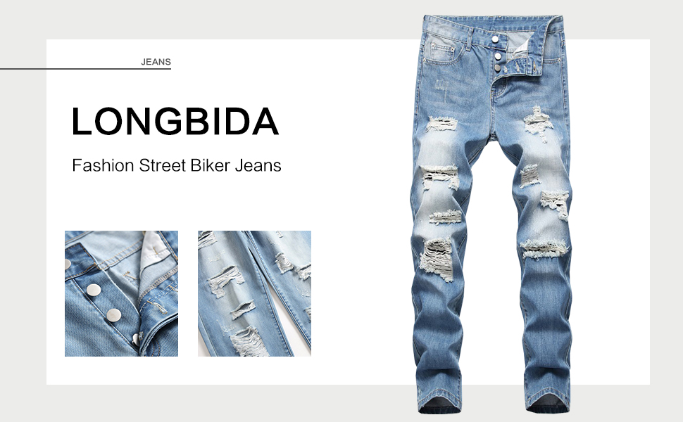Men Skinny Slim Fit Ripped Distressed Stretch Jeans Pant blue ripped jean men skinny distressed jean