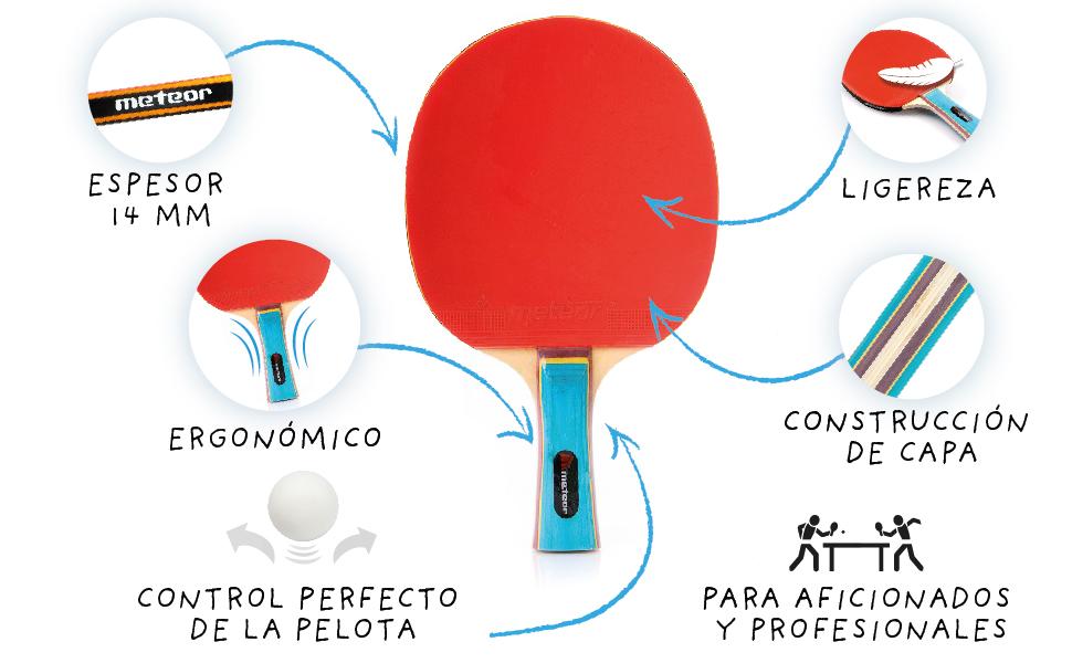 Pala Tenis de Mesa Ideal para Principiantes y avanzados - la Raqueta de Tenis de Mesa para niños y Adultos - Raqueta Mesa Ping Pong para Entrenamiento ...