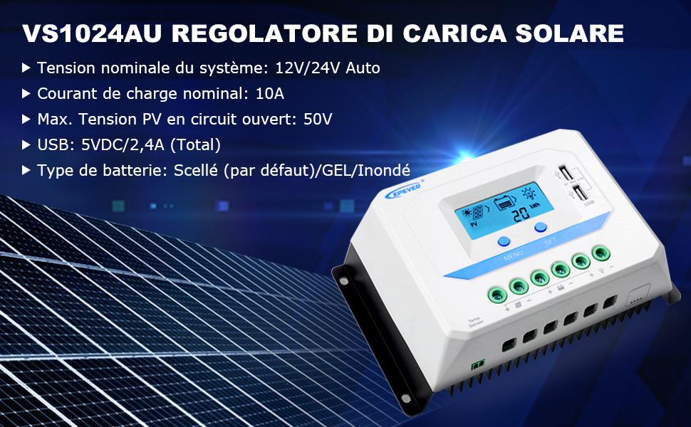 VS3048AU con Display LCD e Porte USB EPEVER/® 30A Regolatore di Carica Solare 12V//24V//36V//48V che Identifica Automaticamente la Tensione di Sistema