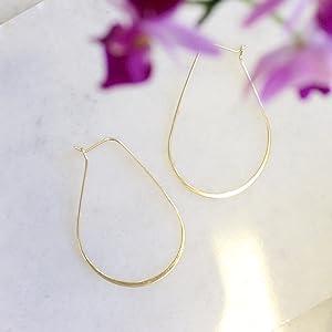 Lightweight Threader Big Hoop Earrings - Hypoallergenic Geometric Thin Wire Loop Drop Dangles