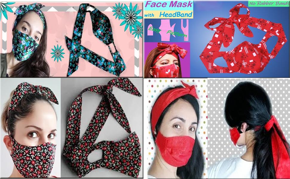 Christmas Face Bandana Headband for Women Turban Headband Ear Protection Girl Knotted Bow Hair Bands