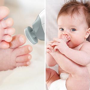 Megainvo Lima de uñas Eléctrico del bebé Set de Manicura y Pedicura para dedos de los pies y las uñas kit de Cortaúñas 10 intercambiables para niños recién nacidos y adultos cuidado