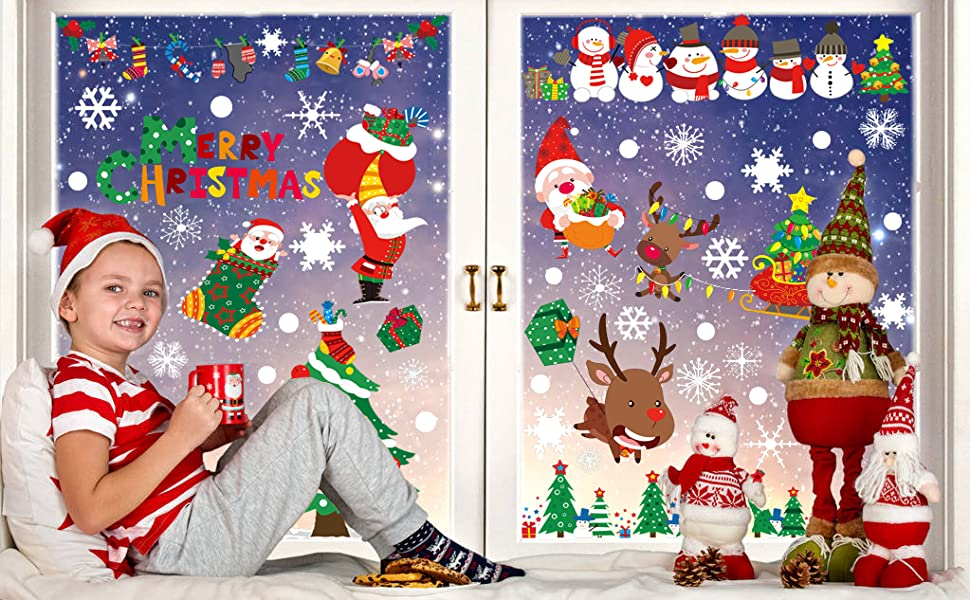 8 sheets christmas window stickers