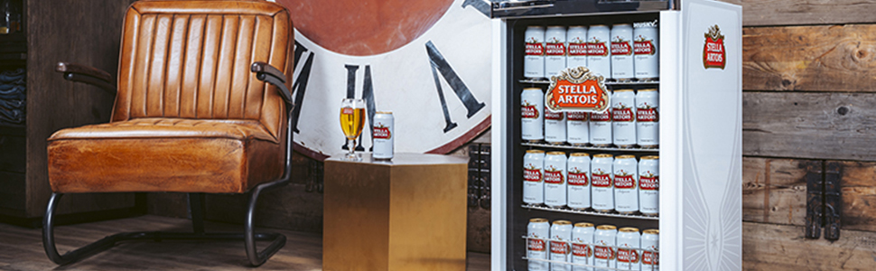 Stella-Artois Undercounter next to pool table and settee