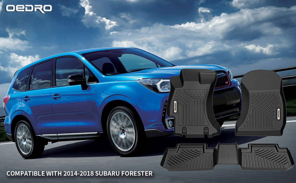 oEdRo Floor Mats Compatible with 2014-2018 Subaru Forester