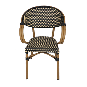 Wicker Furniture Chair All-Weather Woven Rattan Arm Chair Indoor for Garden/Backyard/Bistro/Cafe