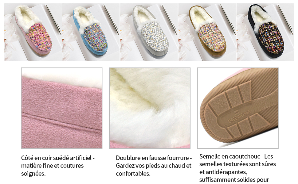 ONCAI Femmes Memory Foam Peluche Pantoufles Mocassins Chaud Hiver Tweed Maison Chaussons pour Int/érieur Ext/érieur Caoutchouc Semelle