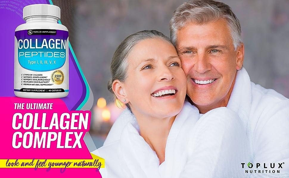 Collagen complex peptides toplux supplement multi 5 types