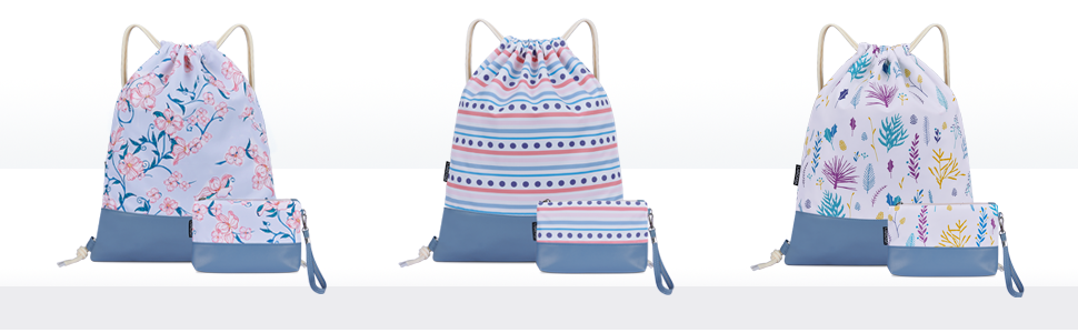 Mochila de Cuerdas Ni/ños Bolsos de Embrague Costuras PU Estampado Florales Azul LIVACASA Mochila con cord/ón//Maquillaje Mochila