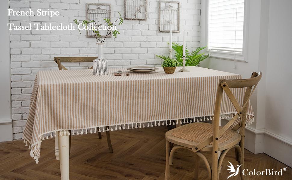 ColorBird Deluxe Home Decoration Stripe Tassel Rectangular Table Cloth