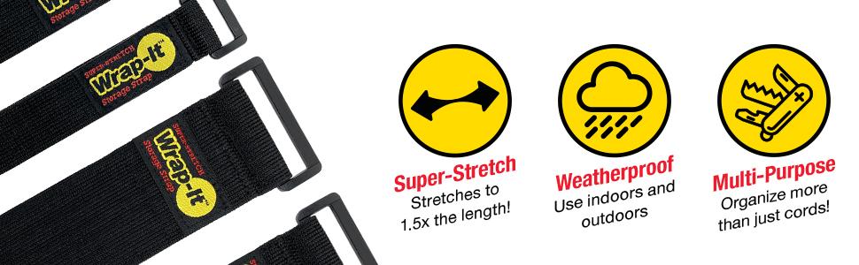 wrap-it storage super-stretch storage straps are elastic cinch-straps for multi-purpose organization