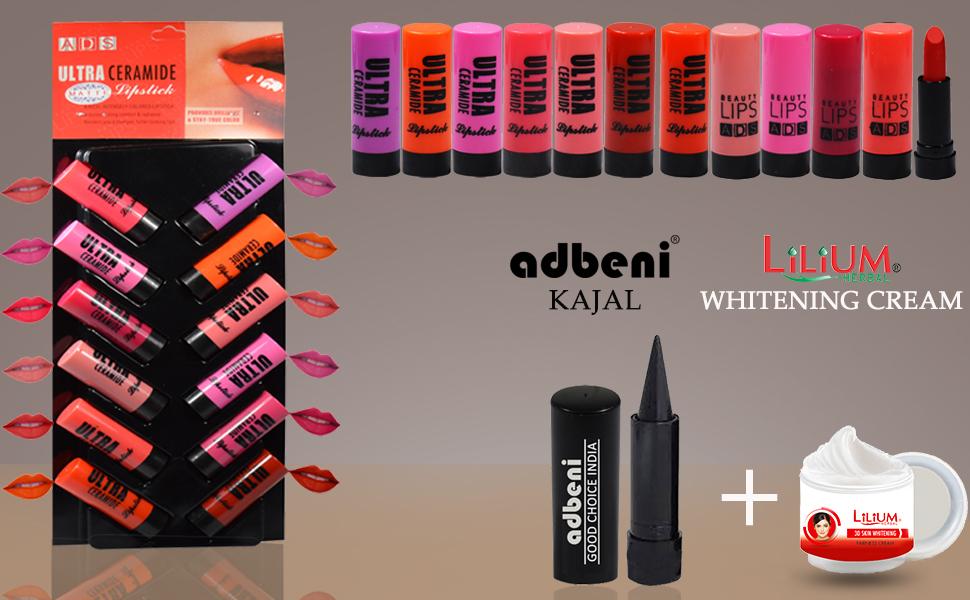 ADS Ultra CeAdbeni ADS Ultra Ceramide Matte Lipstick Multicolor Combo Of 12 2.5 gm with Adbeni Kajal