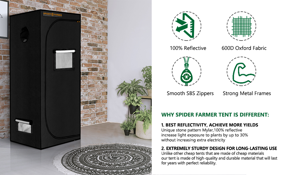 Spider Farmer Grow Tent  2x2 grow tent complete system hydroponic grow tent