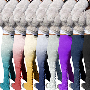 High Waist Long Pants for Women Stripe Flounce Ruched Trousers Bodycon Stretchy Long Legging