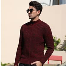 Mens Cardigan Thick Knitted Sweater Full Zip Stand Collar Warm Jumper Winter Coat