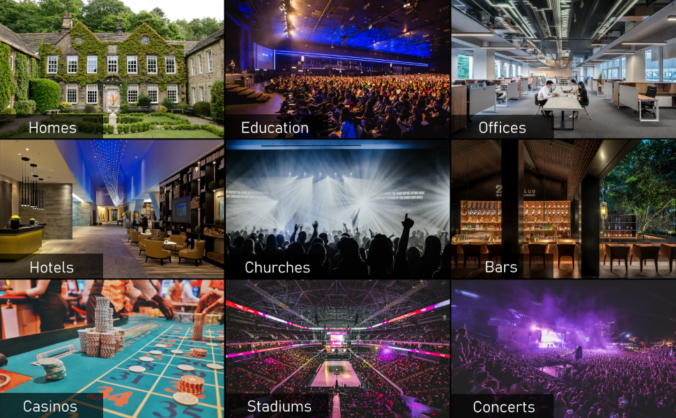 Homes Theaters Hotels Churches Offices Conference Education Sports Bars Stadiums Night Clubs Casinos