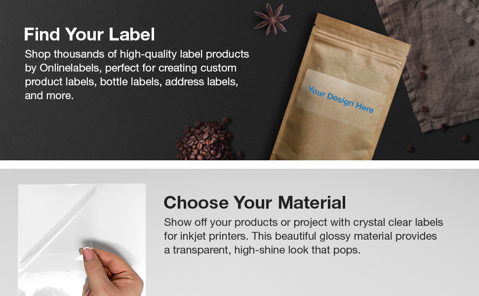 clear gloss rectangle labels product address bottle
