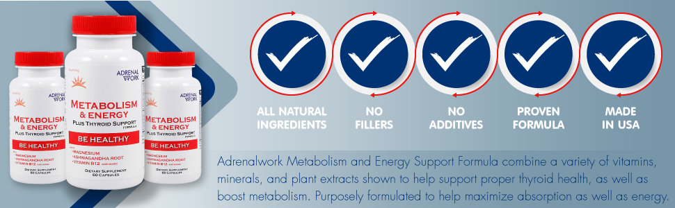 Adrenalwork natural metabolism booster for weight loss, thyroid and cortisol support