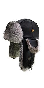FUR WINTER Lamb Suede Leather Rabbit Fur Aviator Outdoor Trapper Trooper Pilot Ski Hat
