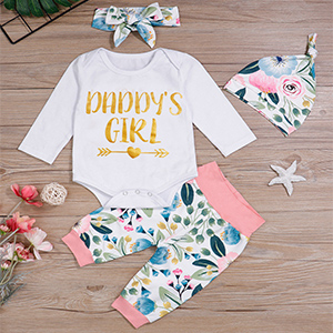 Baby Girls Clothes Newborn Daddys Girl Bodysuit Letter Print Tops Floral Pants with Headband Infant Outfits Set