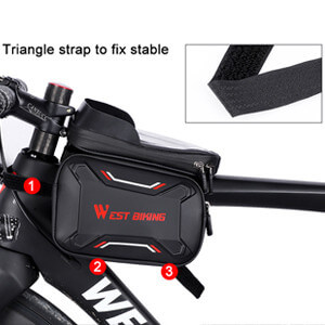 WEST BIKING Cycling Bike Bicycle Front Top Tube Frame Bag Pouch Storage Black D2