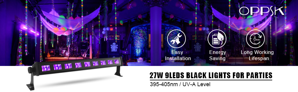 Black Lights, OPPSK 27W 9LED UV Blacklight Bar fit for