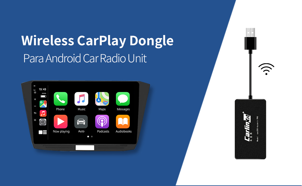 Carlinkit Inal/ámbrico Carplay Dongle agregue Funci/ón inal/ámbrico Carplay//cableada Android Auto//navegaci/ón Soporte iOS13//14 4.4.2 y superior para autom/óvil con Unidad Principal de Android