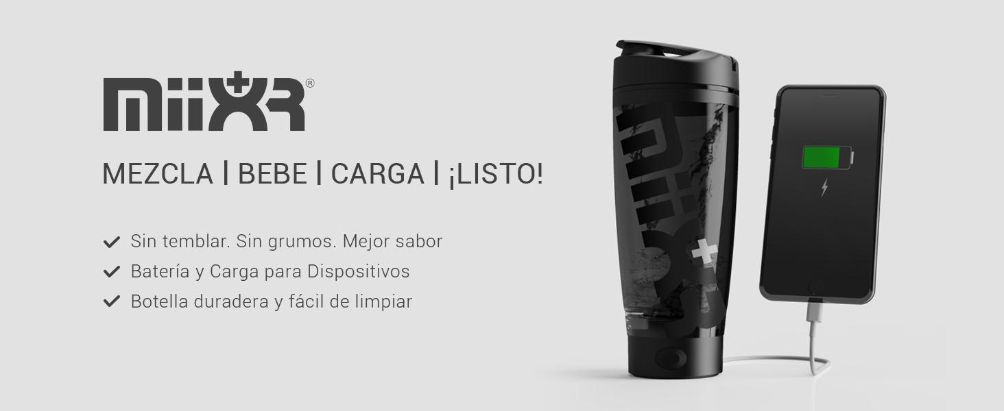PROMiXX MiiXR+ PLUS Botella Batidora de Proteínas, Recargable, con Banco de Energía Portátil, incluye Almacenamiento de Suplemento Integrado y Vaso de ...