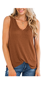 Waffle Knit V-neck tunic tops tank for summer for leggings for women chic plain solid color