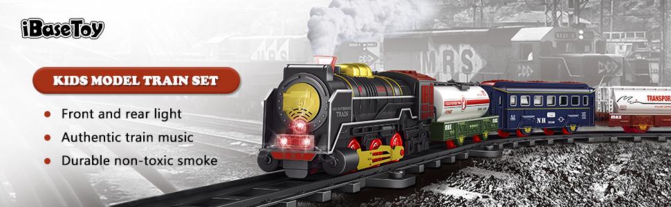 iBaseToy Christmas Train Set for Kids Kids Train Toys Set for 3 4 5 6 Year Old Boys Girls