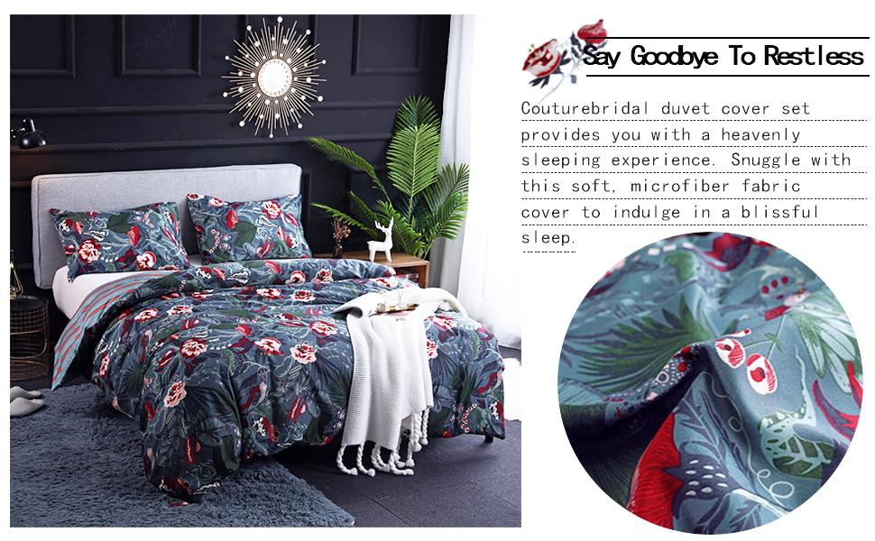 Floral Bird Leaves Pattern Modern bedding set