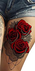 red rose flower halloween temporary tattoos