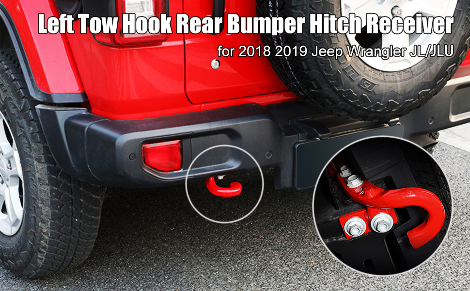 Left Rear Tow Hook for 2018 2019 Jeep Wrangler JL JLU